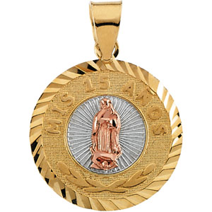 14K Yellow Gold Tricolor Round Mis 15 Anos Pendant