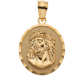 14K Yellow Gold Face Of Jesus (Ecce Homo) Pend