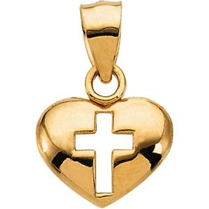 14K Yellow Gold Cross/Heart Pendant