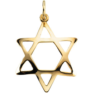 14K Yellow Gold Domed Star Of David