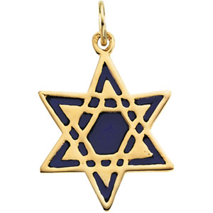 14K Yellow Gold Star Of David With Blue Enamel