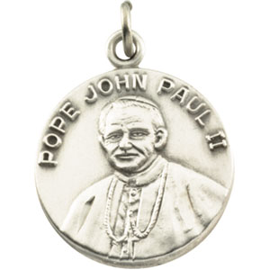 Sterling Silver Pope John Paul Ii Pendant with Chain