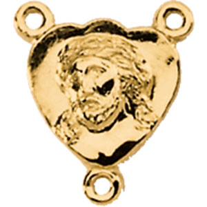 14K Gold Face Of Jesus Rosary Center