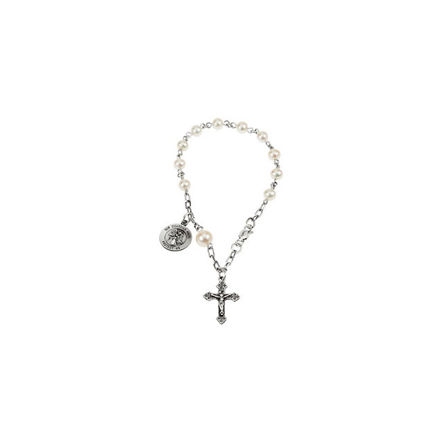 Guardian Angel Pearl Rosary Bracelet - Small