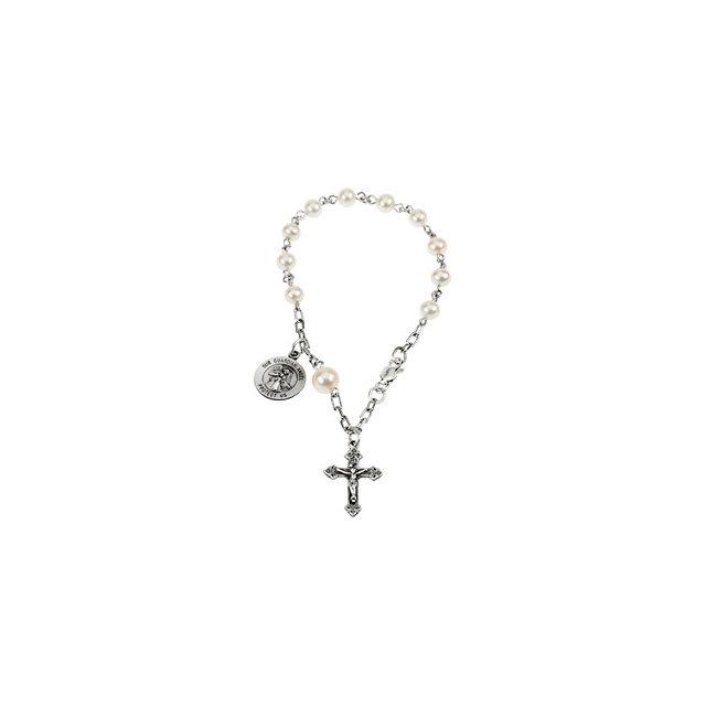Guardian Angel Pearl Rosary Bracelet - Small