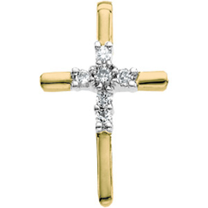 14K Yellow Gold 14Ky Rhod Pltd Diamond Unity Cross