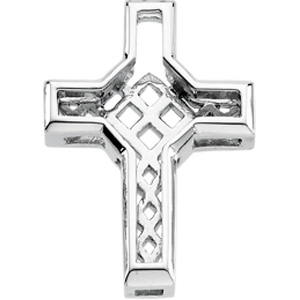 14K White Gold Diamond Unity Cross
