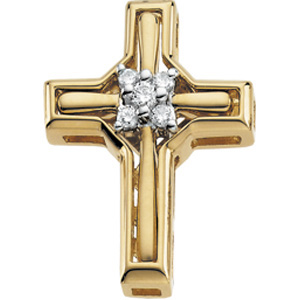 14K Yellow Gold 14Ky Rhod Pltd Diamond Unity Cross