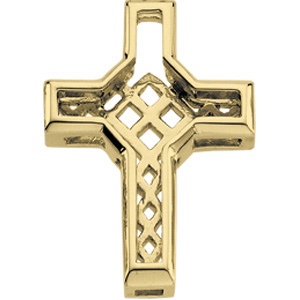 14K Yellow Gold Diamond Unity Cross