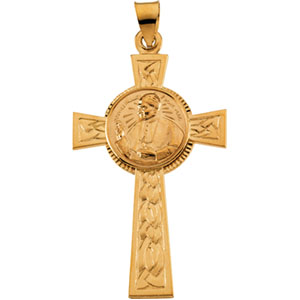 14K Yellow Gold Pope John Paul Ii Cross