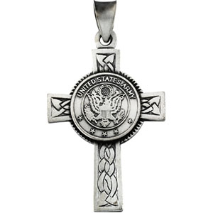 Sterling Silver Us Army Cross with Chain