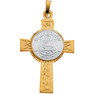 14K Yellow Gold/White Two Tone Us Army Cross