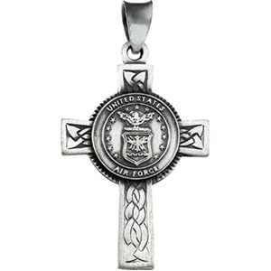 Sterling Silver Us Air Force Cross with Chain