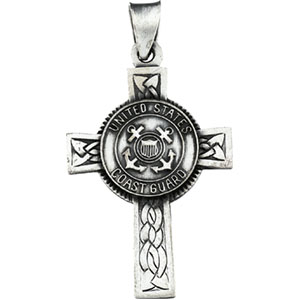 Sterling Silver Us Coast Guard Cross with Chain
