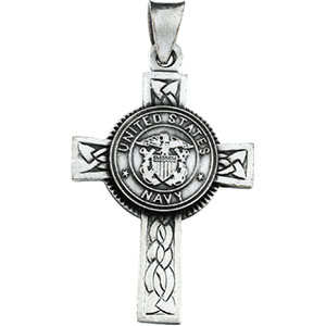 Sterling Silver Us Navy Cross with Chain