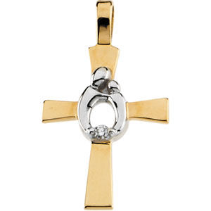 14K Gold/White Two Tone Mother And Child Cross