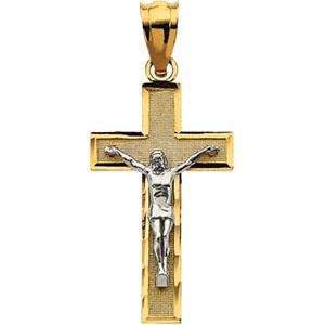 14K Yellow Gold/White Tt Crucifix Pendant