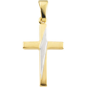 14K Yellow Gold/White Cross Pendant