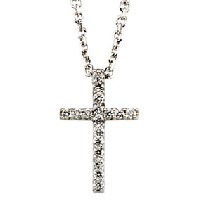 White Gold Tiny Diamond Cross