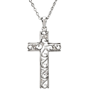 Sterling Silver The Way Cross Necklace with Chain