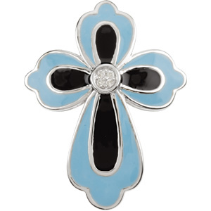 14K White Gold Blue & Black Enamel Diamond Cross