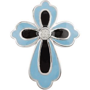 14K White Gold Blue & Black Enamel Diamond Cross