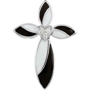 14K White Gold Bl & White Enamel Diamond Cross