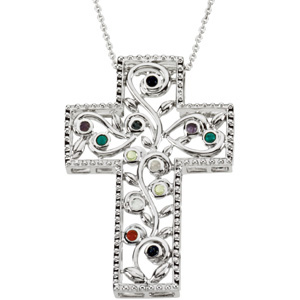 Sterling Silver 12 Step Program Cross with Chain