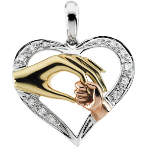 14K Yellow Gold/White/Rose Tri Color Tender Touch Pendant