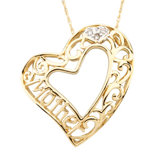 14KY/RHODIUM PLATED Mother Heart Pendant