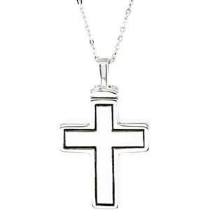 Sterling Silver Mens Cross Ash Holder Pendant