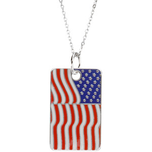 Sterling Silver Blessed Is Usa Flag Dogtag