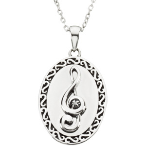 Sterling Silver Sing Affir Pendant with Box