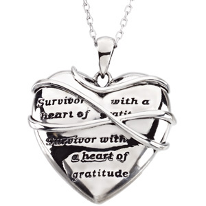 Sterling Silver Surv with Heart Of Grat Pendant with Bx