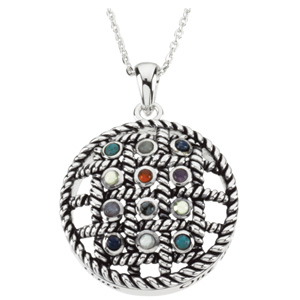 Sterling Silver 12 Step Circle Pendant with Box