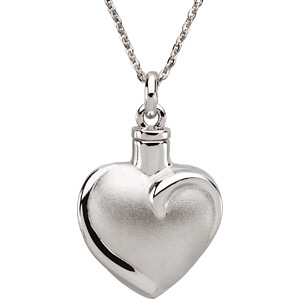 Sterling Silver Fancy Heart Ash Pendant with Ch & Bo