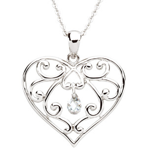 Sterling Silver The Healing Heart with Ch & Box