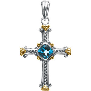 Sterling Silver & 14K Yellow Gold Gen Swiss Blut Topaz Cross Pen