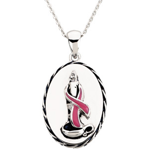 Sterling Silver Breast Cancer Awareness Blesse