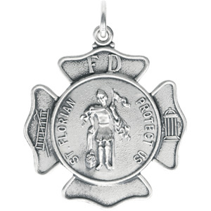 Sterling Silver St Florian Pendant without Chain with Chain