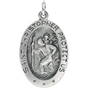 Sterling Silver St. Christopher Pendant with Out Ch