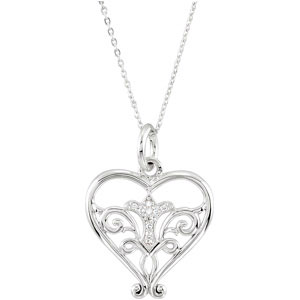 Sterling Silver Pure Heart Neckla with CaRound & Box