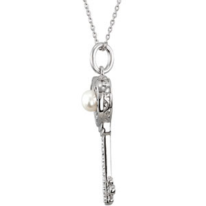 Sterling Silver Key To Kindness Neck with CRound &Pk