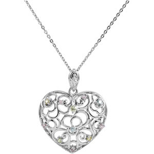 Sterling Silver Desires Of The Heart Pendant & Ch