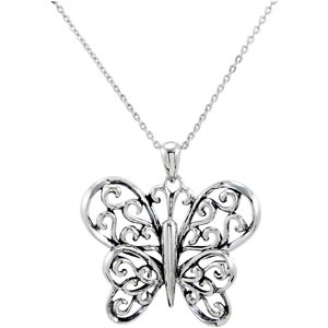 Sterling Silver The Butterfly Principle Pendant &