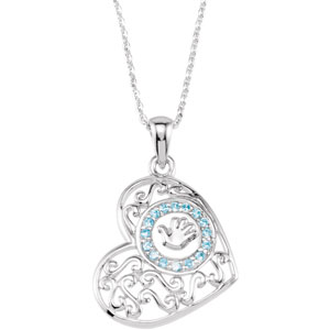 "Sterling Silver Handprnt(B0Y)Pendant with 18""Ch& Pkg"