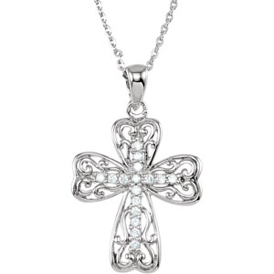 Sterling Silver Lifes Lessons Cross Nck with Pkg with Chain