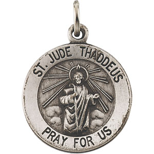 Sterling Silver Round St. Jude Thaddeus Pendant Med with Chain