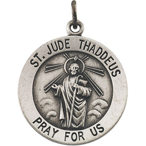 Sterling Silver Round St. Jude Thaddeus Pendant Pendant with Chain