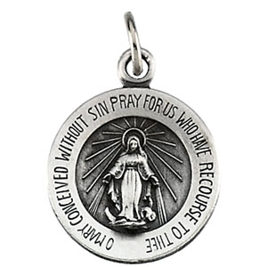 Sterling Silver Rd Miraculous Pend Pendant with Chain